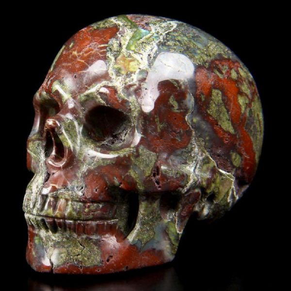 "Dragons Blood Stone Jasper Realistic Carved Gemstone Crystal Skull 2"" Inch SK56"